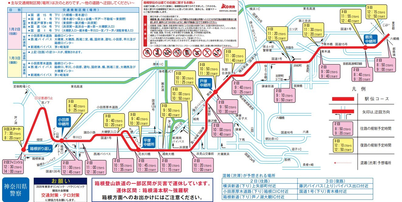 2020年箱根駅伝神奈川県内の交通規制マップ